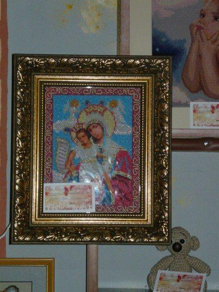икона богородица вышитая бисером