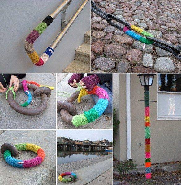 украшение улиц города с помощью вязания