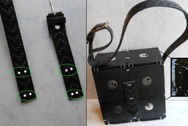 закрепляем ремень на сумке из дискет