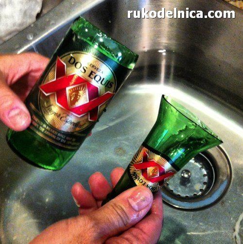 из бутылки стакан