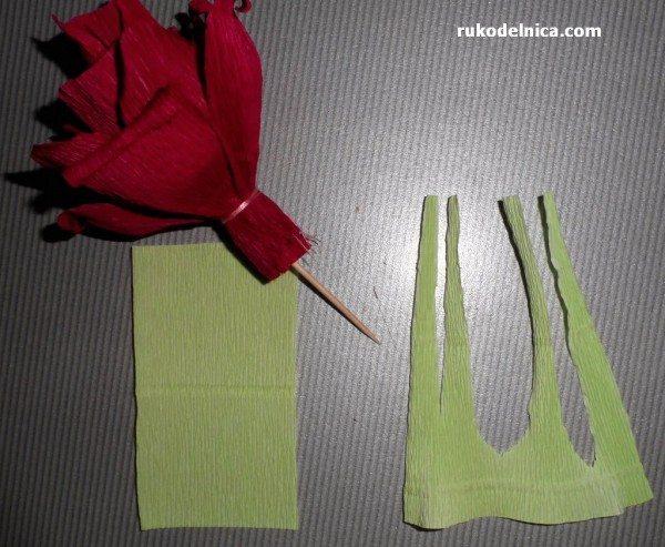 листики для конфетного цветка