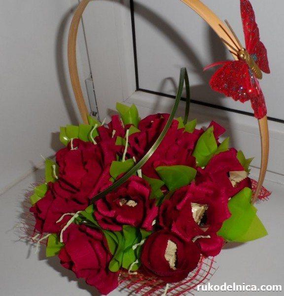 конфетно-цветочная корзинка своими руками