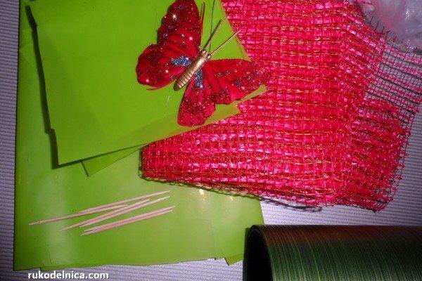 конфетно-цветочная корзинка материалы