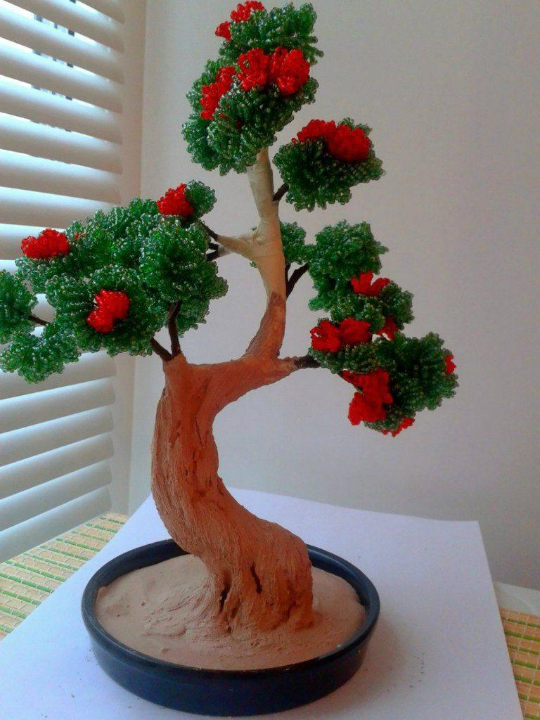 Изготовление дерева из бисера