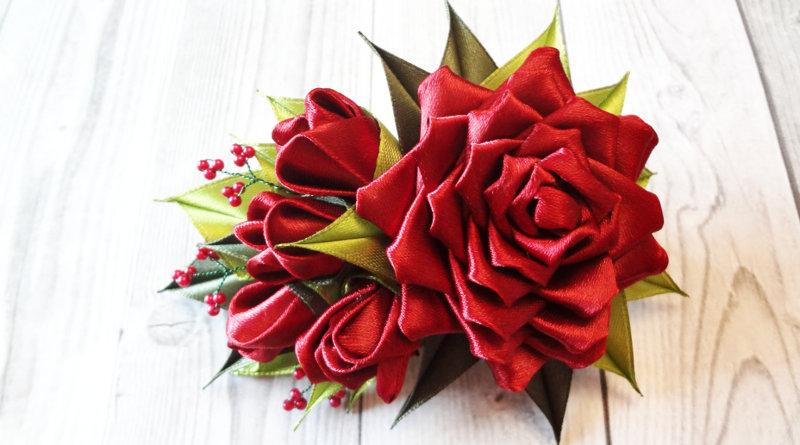 Заколки розы канзаши из лент - Мастер класс